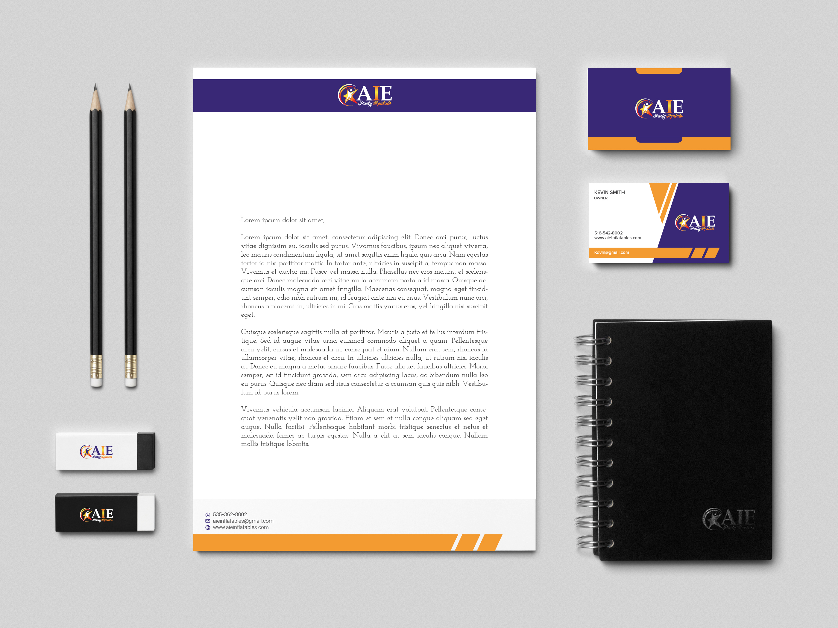 Stationery Design Template for AIE Party Rentals - Logo Design Deck