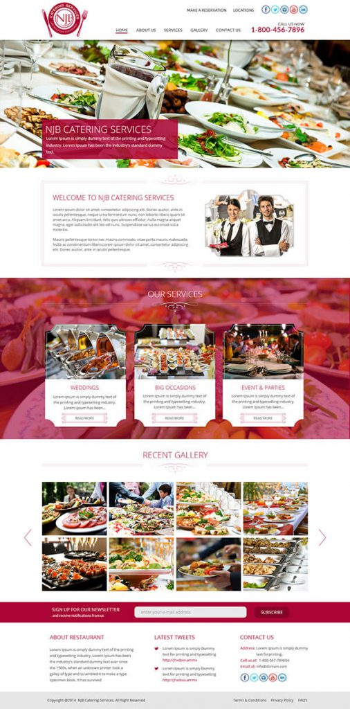Custom Website Design for Cateking Services