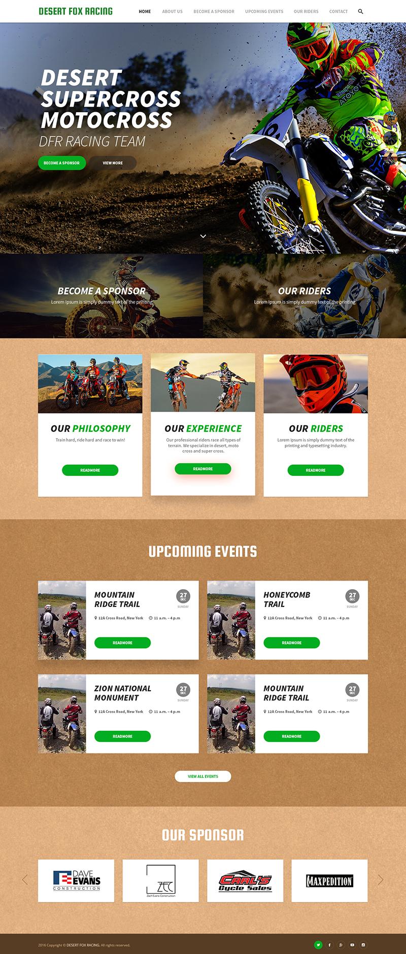 Custom Website Design for Desert Fox Racing - Logo Design Deck