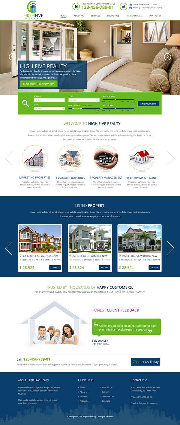 Custom Website Design for High Five Realty - Logo Design Deck