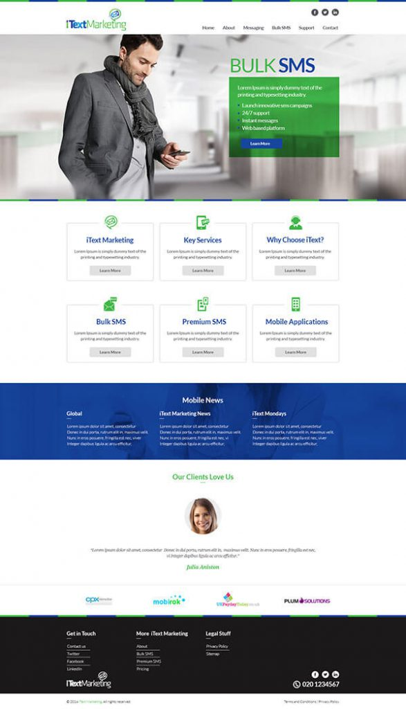 Custom Website Design for ITextMarketing