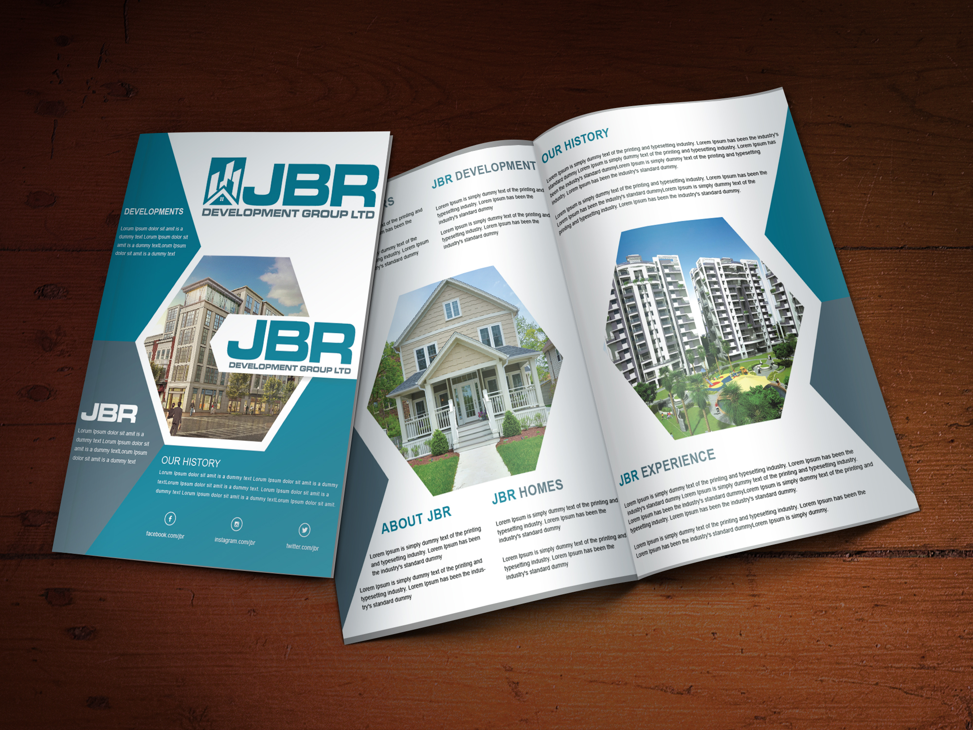 Custom Brochure Design for JBR Development Group LTD - Logo Design Deck
