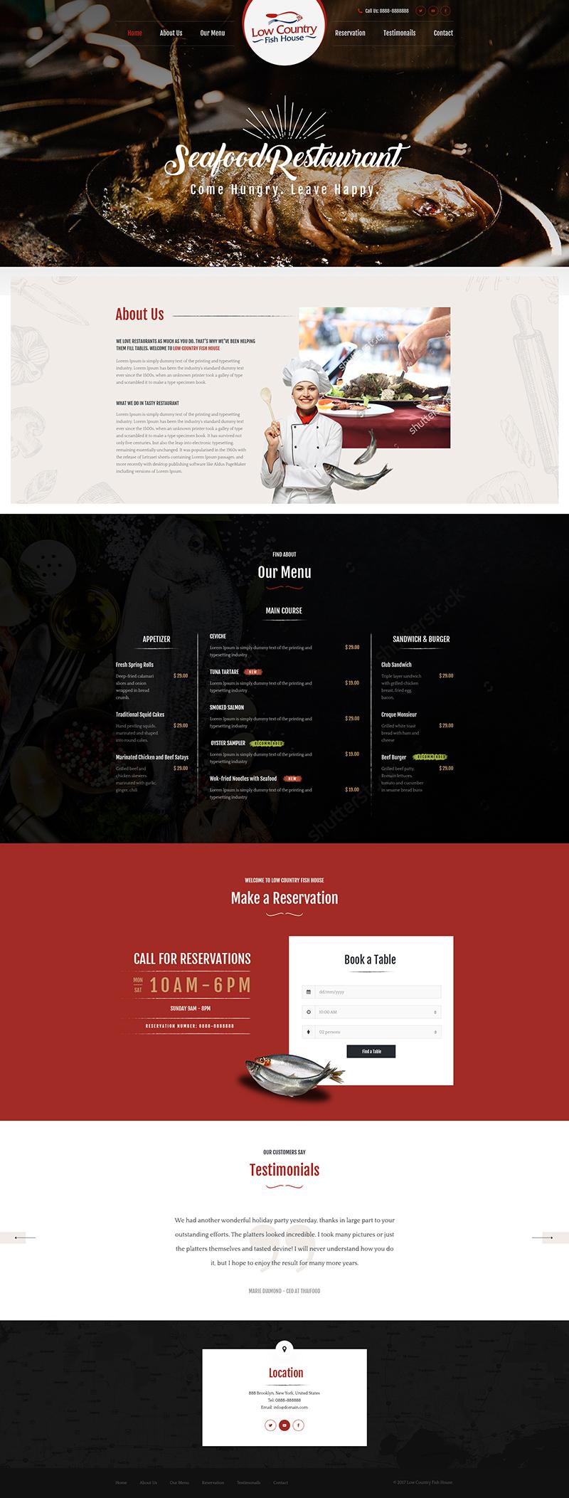 Custom Website Design for Low Country Fish House - Logo Design Deck