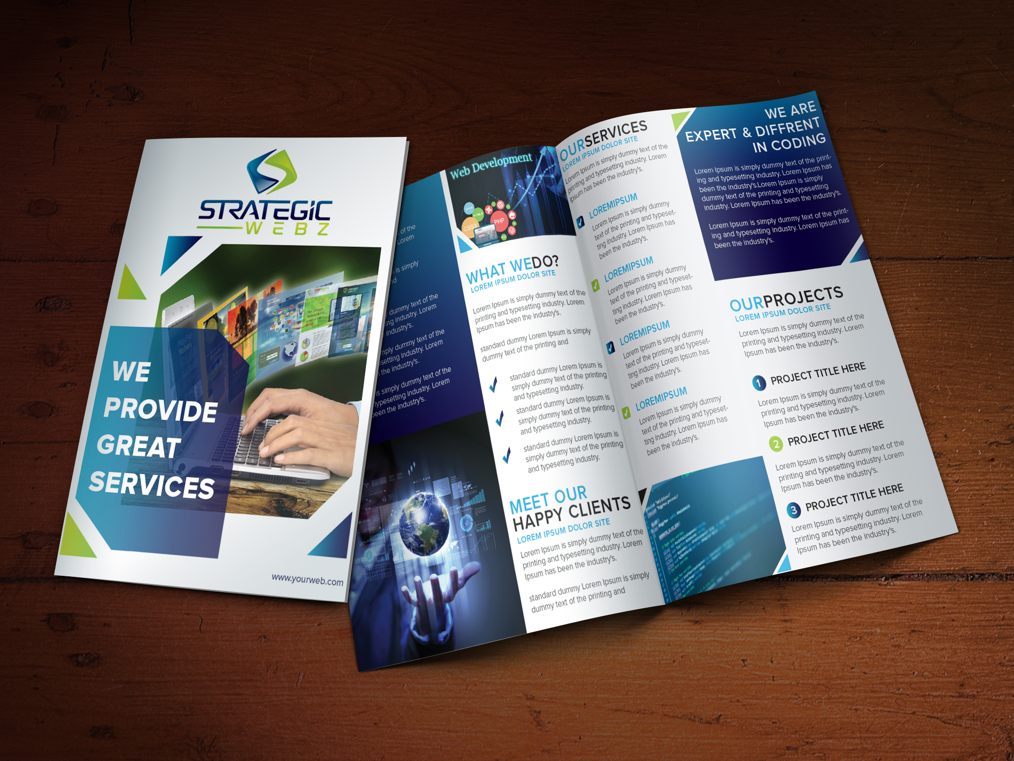 Brochure Design for Strategic Webz - Logo Design Deck