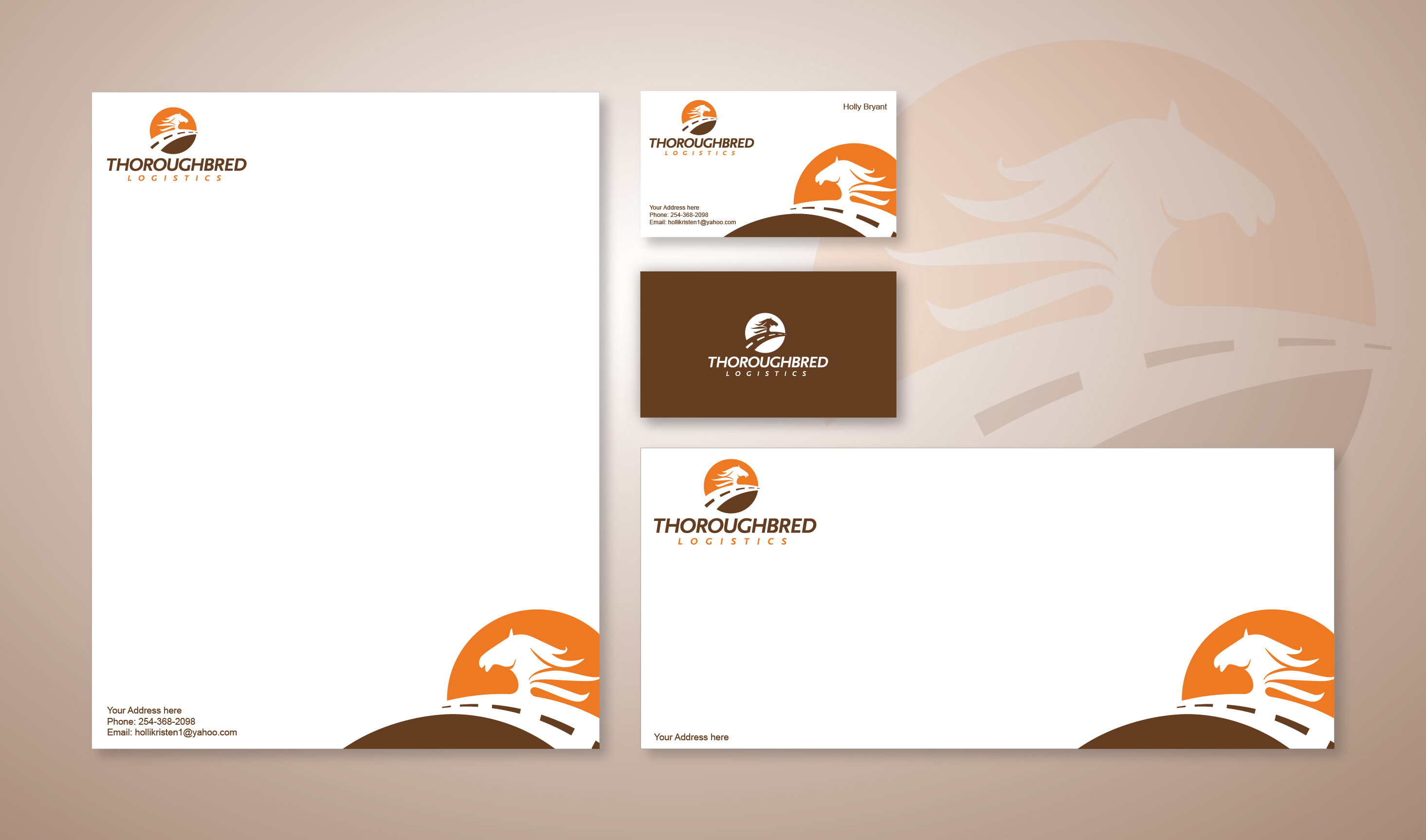 Stationery Design Template for Thoroughbred Logistics - Logo Design Deck
