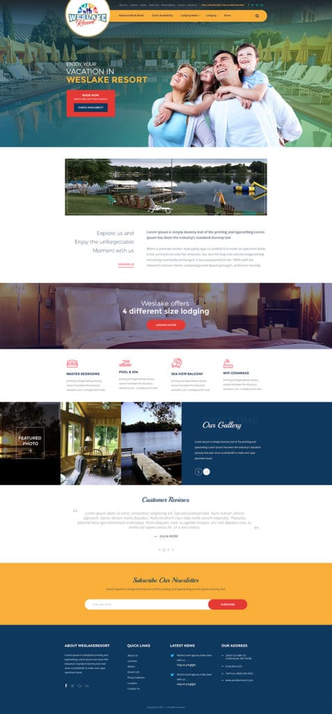 Custom Website Design for Weslake Resort