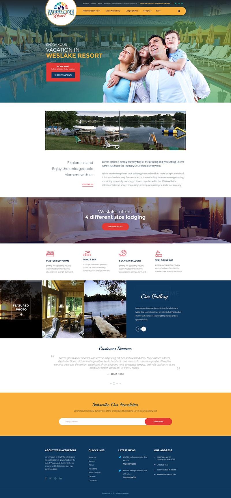 Custom Website Design for Weslake Resort - Logo Design Deck